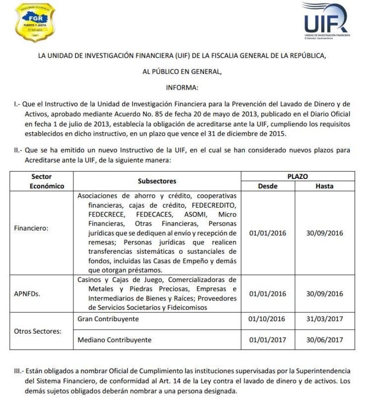 Lavado de dinero UIF 2015